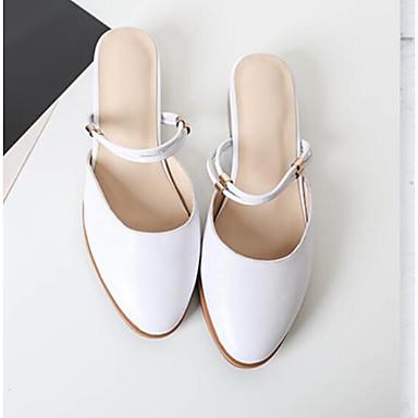 Noir amp; Talon Cuir Chaussures Eté Bas Blanc Bout Femme Mules Nappa Sabot Confort 06791258 rond dYO5dW8qw