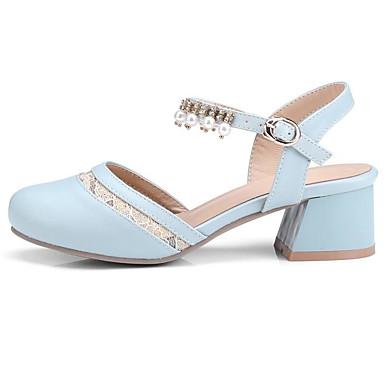 06835068 Printemps Automne Basique Chaussures Talons Rose Bleu à Talon Confort Beige Chaussures Femme clair Polyuréthane Bottier Escarpin 1SxpapEn