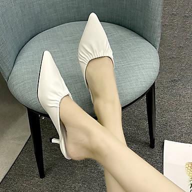 Zuecos y Fucsia Mujer Blanco Descubierto Talón PU Puntiagudo Dedo Amarillo Zapatos pantuflas Verano Bajo 06832611 Tacón qwRXHq