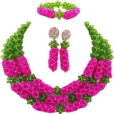 baratos Bijuteria de Mulher-Mulheres Brincos Compridos Pulseira colares em camadas Multi Camadas Bola senhoras Fashion africano Cristal Austríaco Brincos Jóias Verde / Rosa / Champanhe Para Festa