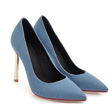 Basique Chaussures de clair Talon Bleu Toile Printemps de Femme Automne Aiguille Escarpin 06832612 Chaussures à Confort Bleu minuit jean Talons qw8FzC