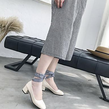 06818481 Tobillo cuadrada Mujer Claro Zapatos Tacón PU Cuadrado Dedo Beige Negro Tacones el en Verano Tira Marrón awgxSY