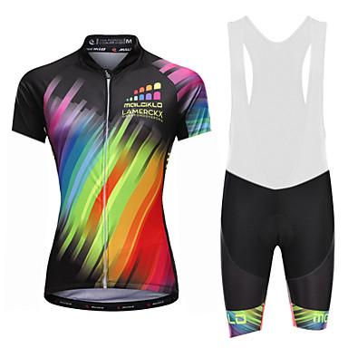 Malciklo Women's Cycling Jersey with Bib Shorts - White / Black Rainbow Plus Size Bike Bib Shorts Jersey Quick Dry Anatomic Design Reflective Strips Sports Lycra Rainbow Mountain Bike MTB Road Bike