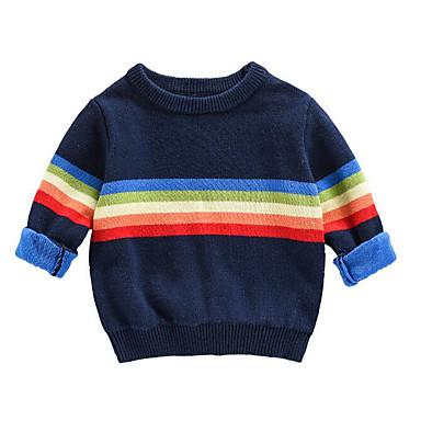 저렴한 남아 스웨터&가디건-아동 남아 베이직 줄무늬 긴 소매 보통 스웨터 & 가디건 네이비 블루
