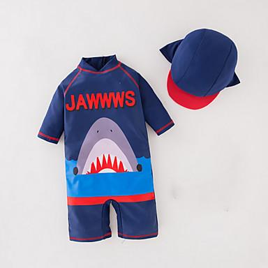 povoljno Kupaći za dječake-Djeca Dječaci Plaža Print Print Rukava do lakta Pamuk Poliester Kupaći kostim Navy Plava