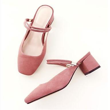 Mules Basique Sabot été Daim carré Rose Bout amp; Femme Printemps Escarpin Bottier Talon Chaussures Noir 06783085 x8nXHY