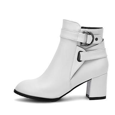 voordelige Dameslaarzen-Dames Laarzen Blokhak PU Comfortabel / Modieuze laarzen Lente / Herfst Wit / Zwart / Beige