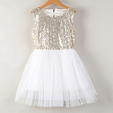 3b4752de27f5 Kids Girls  Active   Sweet Holiday   Going out Solid Colored Lace    Backless   Sequins Sleeveless Knee-length Spandex Dress Gold   Cut Out    Bow   Mesh ...
