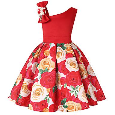 baratos Princesa-Infantil Bébé Para Meninas Activo Doce Natal Diário Feriado Sólido Floral Estampa Colorida Estampado Sem Manga Acima do Joelho Vestido Roxo
