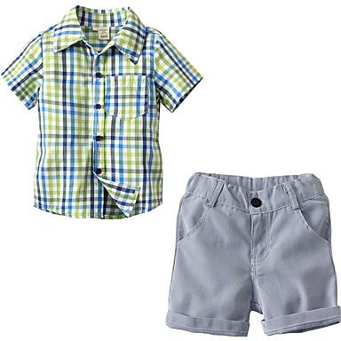 6541b72b7699f Toddler Genç Erkek Temel Solid Kısa Kollu Polyester Kıyafet Seti Açık Yeşil