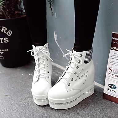 Botte Blanc Demi Polyuréthane 06830801 Mode Bout Noir Strass compensée Chaussures Basket de hiver Hauteur Paillette semelle à Automne la Rivet Bottine Brillante rond Bottes Femme Botillons fgqwU5xT