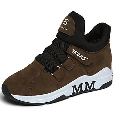 Žene Cipele Brušena koža Proljeće Udobne cipele Sneakers Ravna potpetica Okrugli Toe Crn / Braon