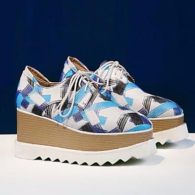 Žene Cipele Mekana koža Proljeće / Jesen Udobne cipele Oksfordice Wedge Heel Trg Toe Sive boje / Plava