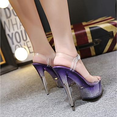 Cristal Femme Sandales Eté chaussures Arrière ouvert cristal PVC Chaussures A 06837458 Soirée Bleu Fuchsia Boucle Bride amp; Talon Bout Violet Transparent Evénement qrwxqBOnA