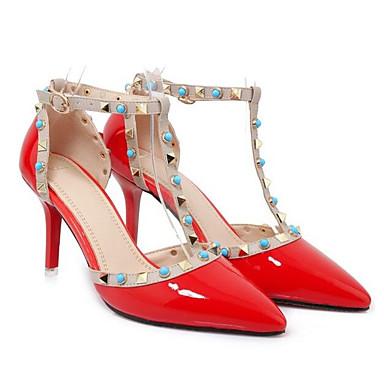 Femme 06840519 Chaussures Cuir Confort à Basique Noir Nappa Chaussures Talons Aiguille Blanc Talon Eté Escarpin Rouge Z4Zxnqrw