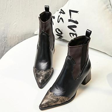 Bottine Printemps Demi Bottes Marron Botillons Noir pointu Botte Automne Chaussures amp; Block Bout 06832175 Polyuréthane Femme Heel PwFqE7