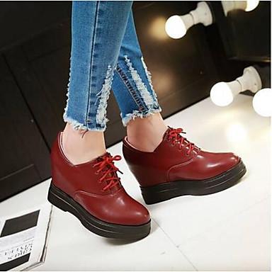 PU Confort Primavera redondo Media Verano 06795306 Dedo plataforma Oxfords Mujer Rojo Verde Beige Zapatos pqwRIR5
