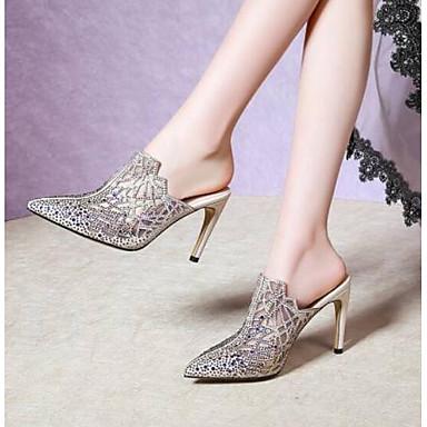 Žene Cipele Mikrovlakana Ljeto Udobne cipele Sandale Stiletto potpetica Zatvorena Toe Crn / Badem