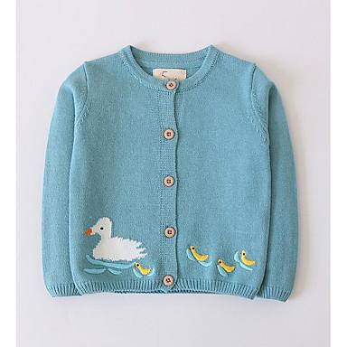 baratos Suéteres & Cardigans para Meninas-Infantil Para Meninas Moda de Rua Geométrica Manga Longa Suéter & Cardigan Azul Claro