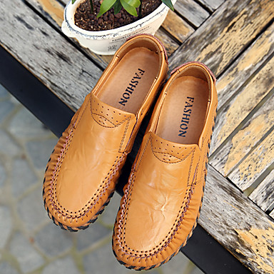 Bout Mocassins Brun Confort Printemps Femme Noir Chaussons Talon et Polyuréthane été D6148 Plat 06835381 Jaune rond Chaussures Foncé XqXwZSP
