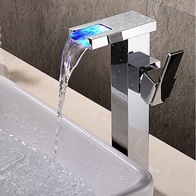 Kupaonica Sudoper pipa - Waterfall / Slavine s tri otvora / New Design Chrome Zidne slavine Jedan Ručka jedna rupa