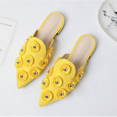 Confort Orange 06785753 Bout Femme amp; Sabot Satin Eté Jaune Noir pointu Plat Mules Chaussures Talon ttqB7F