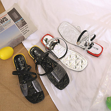 Plateado PU Talón Tacón Zapatos Plano Verano Mujer 06778585 Descubierto Negro Sandalias xqzwYt