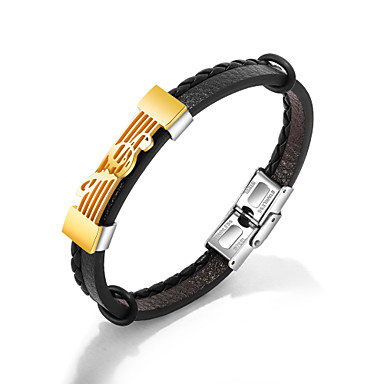 billige Motearmbånd-Herre Armringer Lær Armbånd Link / Kjede trendy Avslappet / Sportslig Mote PU Leather Armbånd Smykker Gull / Sølv Til Gave Daglig