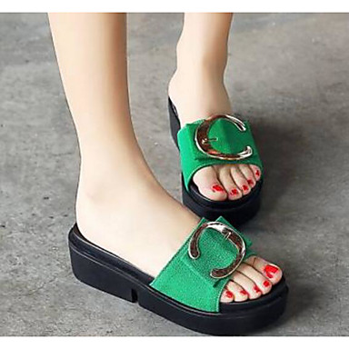 Women's Shoes PU(Polyurethane) Summer Comfort Slippers & Flip-Flops Red Flat Heel Black / Red Flip-Flops / Green 41d643