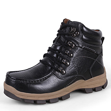 Men's Nappa Leather Fall & Winter Boots Hiking Shoes / Black / Dark Brown / Shoes Khaki 6d606d