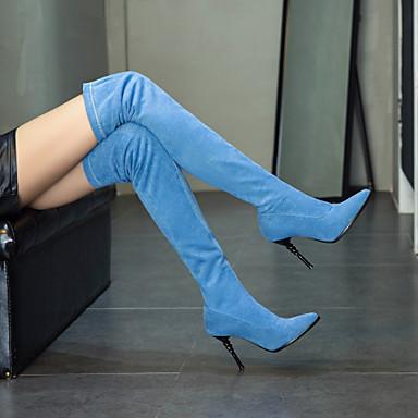 Femme Chaussures Faux Cuir / / / Tissu élastique Automne hiver Bottes à la Mode Bottes Talon Aiguille Bout pointu Cuissarde Rouge / Bleu   Outlet Online  27ad7d