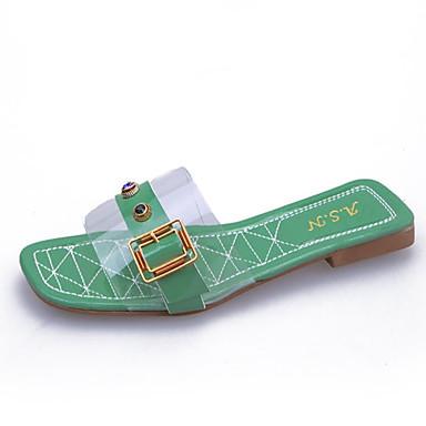 Rosa Verano Verde PVC Sandalias Descubierto Plano Talón Almendra Tacón Zapatos 06795426 Mujer PU 1Sqvvw