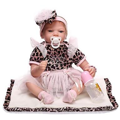 NPKCOLLECTION Autentične bebe Za ženske bebe 24 inch vjeran Ručni primijenjeni trepavice Umjetna implantacija Plave oči Dječjom Djevojčice Igračke za kućne ljubimce Poklon / Prirodni ton kože