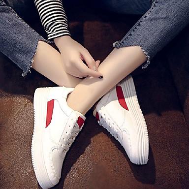 Verde Caqui Plano 06782204 de Zapatillas Tacón Mujer redondo Zapatos deporte Primavera Cuero Sintético Rojo Confort Dedo ZA6Oz