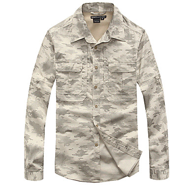 ccaf59ca386 Men s Long Sleeve Camo Hiking Shirt   Button Down Shirts Outdoor Autumn    Fall Spring Fast Dry Breathability Wearable Cotton Nylon Shirt Top  Gray+White Grey ...