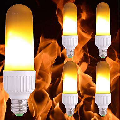 billige Elpærer-5pcs 3.5 W LED-kornpærer 300 lm E26 / E27 99 LED perler SMD 2835 Flamme Flimrende Gul 85-265 V