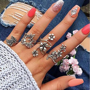 billige Motering-Dame Håndledd Ring / Ring Set / tommelfingerring 4stk Sølv Legering Sirkelformet / Geometrisk Form damer / Uvanlig / Unikt design Bryllup / Daglig / Maskerade Kostyme smykker / Blad Formet