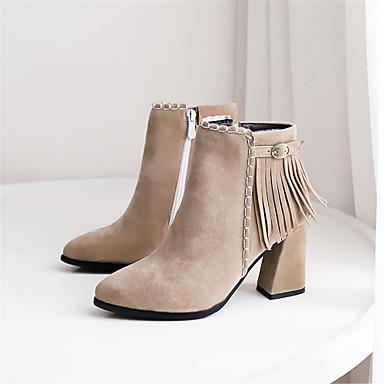 les chaussures de femme synthetics automne et et et hiver bottes mode bottes chunky talon orteil bottines / bottines noires / beige et kaki / partie & soir 217214
