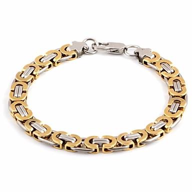 voordelige Dames Sieraden-Heren Armbanden met ketting en sluiting Schakelarmband Schakelketting Creatief Vintage Europees Titanium Staal Armband sieraden Goud / Zilver Voor Dagelijks Festival