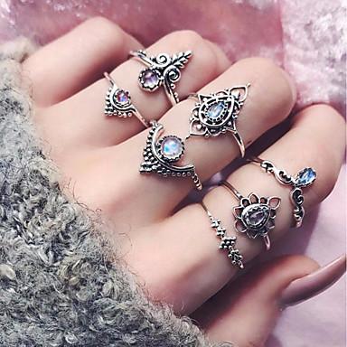 billige Motering-Dame Ring Set / Midiringe / Stable Ringer Syntetisk turmalin 7pcs Sølv Legering Sirkelformet damer / Grunnleggende / Mote Daglig / Stevnemøte Kostyme smykker