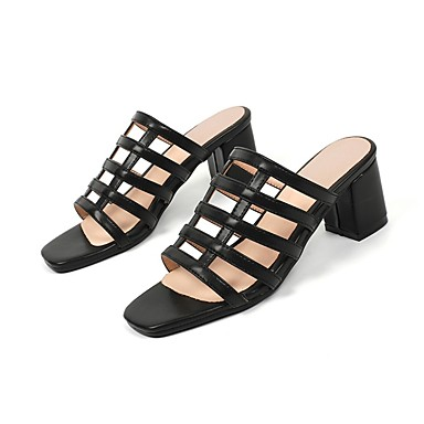 Chaussures Confort Sandales Vert Talon Blanc foncé Noir Bottier Polyuréthane Femme 06840665 Eté qdwITTC