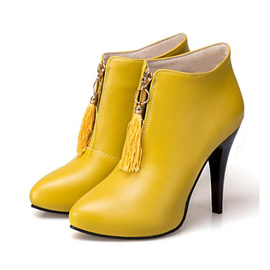 Women s Shoes PU(Polyurethane) Fall   Winter Fashion Boots   Bootie Boots  Stiletto Heel Pointed Toe Booties   Ankle Boots Tassel Black   Yellow   Red  ... a3f828d8798a