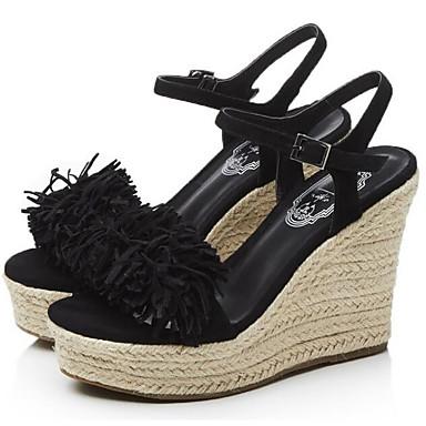 Confort Chaussures Vert Amande de Daim semelle Femme 06838091 Noir Hauteur Printemps Sandales compensée wRttqdS