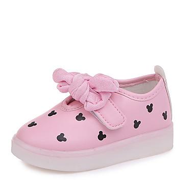 Djevojčice Cipele PU Proljeće ljeto Udobne cipele Sneakers Hodanje Mašnica / LED za Djeca Obala / Crn / Pink