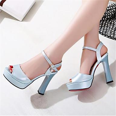 Polyuréthane Femme Basique Escarpin 06783473 Bout ouvert Sandales Eté Bottier Chaussures Bleu Rose Talon Blanc FSqS5wC