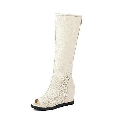 Žene Cipele Sintetika Jesen zima Modne čizme Čizme Ravna potpetica Peep Toe Čizme do koljena Obala / Crn / Bež / Zabava i večer