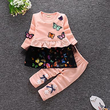 Dijete Djevojčice Ležerne prilike / Aktivan Izlasci Rukav leptir Cvjetni print Nabori Dugih rukava Pamuk Komplet odjeće / Dijete koje je tek prohodalo