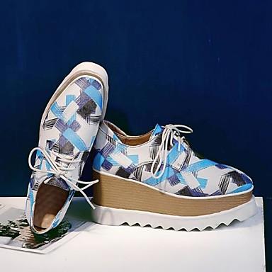 Bleu de Hauteur Chaussures Oxfords Nappa Bout carré Cuir Printemps Confort Gris Femme semelle compensée 06778571 Automne 68qTpwqx