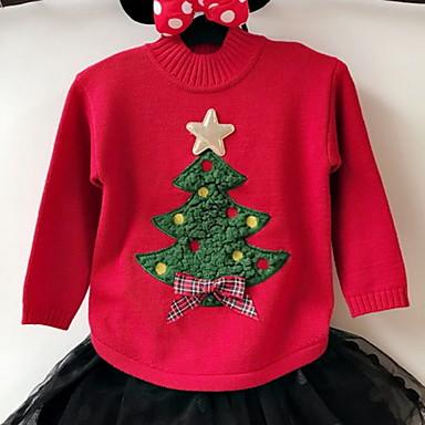 baratos Suéteres & Cardigans para Meninas-Bébé Para Meninas Básico Sólido Manga Longa Suéter & Cardigan Vermelho