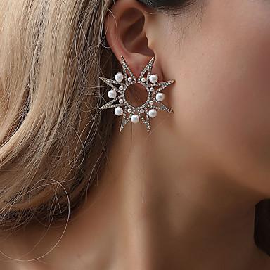 1pc Women s Crystal Cubic Zirconia Hollow Out Stud Earrings - Pearl  Imitation Diamond Star Snowflake Ladies b993df1305